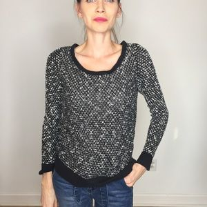 Loft Black White Boucle Knit Scoop Neck Sweater